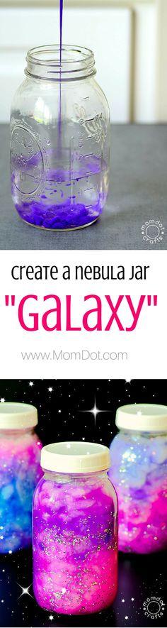 Create a DIY Nebula or Galaxy jar , simple ingrediants for calming jar fun - http://www.momdot.com/diy-nebula-jar-instructions/ @violentbubbles