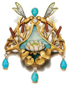 Sandoz Art Nouveau Brooch So Artfully Done With Cattails,, Dragonflies & Their Plique-a-Jour Wings, Turquoise Drops, A Hand Painted Enamel Lotus and 18K Gold.