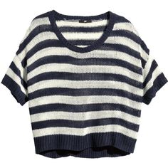 H&M Knitted top (£6.49) found on Polyvore featuring tops, loose tops, short sleeve tops, loose fitting tops, h&m and loose fit tops