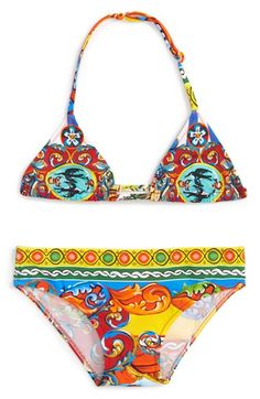 Dolce&Gabbana 'Carretto' Two-Piece Swimsuit (Toddler Girls)
