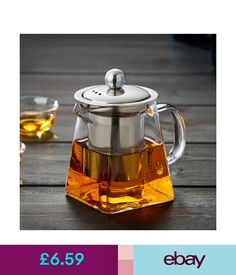 Stainless Glass Teapot Loose Infuser Coffee Tea Leaf Herbal Decor ED