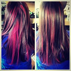 brown hair and pink streaks - Google Search