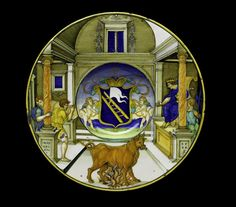 Maiolica dish decorated in polychrome with the arms of the Calini family of Brescia surrounded by a depiction of 'Phalaris and the Bull of Perillus': Italian, Urbino, painted by Nicola di Gabriele Sbraghe, 1520 - © National Museums Scotland Art Nouveau, Italian Renaissance, Pottery Designs, Glazes For Pottery, National Museum, Coat Of Arms, 16th Century, Archaeology, Dish