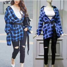 Buy JOYIST Check Shirt / Distressed Pants at YesStyle.com! Quality products at remarkable prices. FREE WORLDWIDE SHIPPING on orders over US$35.