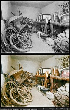 Numerous chariots are stacked up against the wall. 21 Colorized Photos from the Discovery of King Tut Egyptian Symbols, Ancient Egyptian Art, Ancient Aliens, Ancient History, European History, Ancient Greece, Ancient Mysteries, Ancient Artifacts, King Tut Tomb