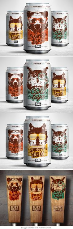 "RuTT Beer Brewery, fun drawings of ""cool"" animals #beer #packaging #design by StudioMax 