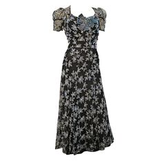Dress, USA: 1930's, floral embroidery on tulle, puff cap sleeves, large velvet bow at center bust, separate lining piece.