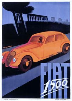 Fiat 1500 Vintage Poster Fine Art Giclee Print by Riccobaldi