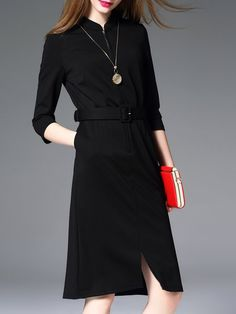 Black Stand Collar Work Cotton Sheath Midi Dress With Belt