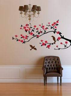 Cherry blossom branch wall decal. Our decals are made of premium removable matte vinyl and can be applied to any clean, flat surface. Wall decal measures approx. 23x46, however can be cut smaller or larger or customized in any other way. Send me a message for a custom quote!    This is the original artwork found only at CherryWalls and nowhere else. >Choose color for each of the 3 elements    1st color - branch  2nd color - blossoms  3rd color - birds Please, mention your color choice in…