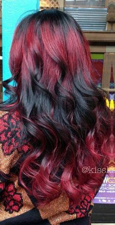 Red black ombre dyed hair inspiration @kisskasshair