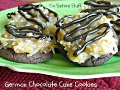 Six Sisters' Stuff: German Chocolate Cake Cookies Recipe (GP inspiration.plain soft chocolate cookies, add a fun frosting & toppings for family. Cherry pie filling for Black Forest Cake cookies would be good, too! Cookie Desserts, Just Desserts, Cookie Recipes, Delicious Desserts, Dessert Recipes, Yummy Food, Drink Recipes, Yummy Cookies, Cupcake Cookies