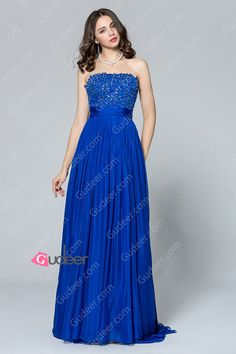 royal blue straight beaded long chiffon bridesmaid dress