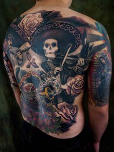 tattoo ©2015 Kore Flatmo, PluraBella, skull, skeleton, day of the dead, mariachi, roses, black and gray, color, back, tattoo
