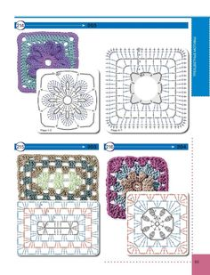 View album on Yandex. Crochet Chart, Crochet Stitches, Knit Crochet, Crochet Patterns, Motifs Granny Square, Granny Squares, Album, Blanket, Knitting