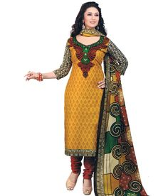 Vrishti Fashion Pretty Yellow Cotton Printed Casual Wear Dress ...