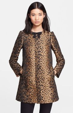 RED Valentino Leopard Jacquard Coat available at #Nordstrom