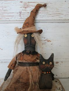 Primitive Grungy Folk Art  Willa Witch and Winx by OldeAtticPrims, $32.00