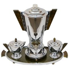 Art Deco Chrome and Bakelite Coffee Service by Manning Bowman 1