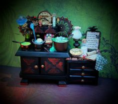 19th Day Miniatures Works in Progress: Dollhouse Miniature Witching Hour Witch Cooking Stove and Side Counter with Witchy Foods