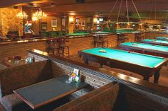 """Crooked Cue (3056 Bloor St. W)  """"offers a relaxed, fun, and upscale environment, boasting over 10,000 square feet of restaurant, billiards, and special event venue. This is not your average pool hall – an award winning design that has been featured on """"Canada's Top Pool Halls"""" on the """"CBC"""" and """"TSN""""."""