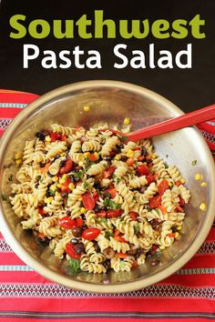 Liven up your next pasta dinner with this Southwest Pasta Salad. It's got all the fun south-of-the-border flavors with the ease of a noodle salad. Chicken Salad Recipes, Healthy Salad Recipes, Pasta Recipes, Dinner Recipes, Dinner Ideas, Fruit Salad, Fish Salad, Salmon Salad, Shrimp Salad