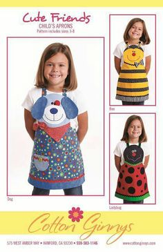 ON SPECIAL.Cute Friends Aprons (children's) apron sewing pattern from Cotton Ginnys Childrens Apron Pattern, Child Apron Pattern, Childrens Aprons, Sewing Crafts, Sewing Projects, Sewing Aprons, Kids Apron, Cute Friends, Dog Friends