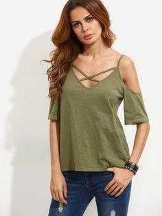 Army Green Crisscross Cold Shoulder T-shirt