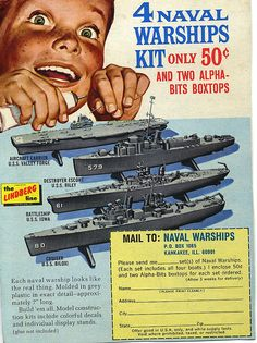 50 cents and 2 boxtops! Old Advertisements, Retro Advertising, Vintage Models, Old Models, Plastic Model Kits, Plastic Models, Vintage Comics, Vintage Ads, Model Warships