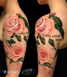 Prettiest pink rose tattoo I have seen!!!