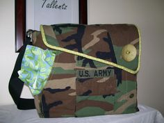 Recycled Army Shirt Diaper Bag