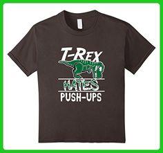 unisex-child T-Rex Hates Push ups Dinosaur Funny Gym Workout T-Shirt 6 Asphalt - Workout shirts (*Amazon Partner-Link)