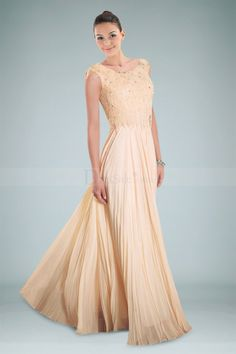 Glamorous Bateau Neckline Floor-length Evening Gown with Beads and Pleats