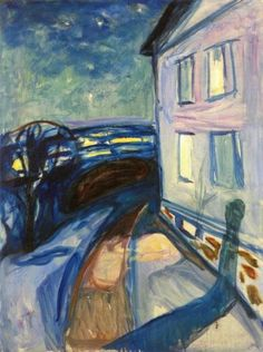 huariqueje: House Wall in Moonlight - Edvard Munch, Norwegian, Oil on canvas, 90 x 68 cm Edvard Munch, Bohemian Art, Oil Painting Reproductions, Klimt, Anime Comics, Art Images, Les Oeuvres, Moonlight, Statues