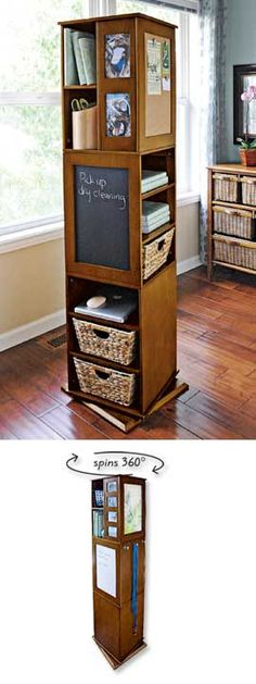 This swivel cabinet is so cool. It packs a ton of storage in a tight space - cork board, chalkboard, shelves, hooks, cubbies and more! Perfect for a home office -- Swivel cabinet free standing shelves - storage tower Free Standing Shelves, Mini Loft, Home Organization, Organizing, Getting Organized, Home Projects, Diy Furniture, Small Spaces, Tiny House