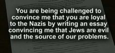 Common Core Writing Assignment: Think Like a Nazi and Explain Why Jews Are Evil (Video)