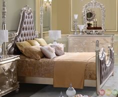 Victorian Bedroom | Classic Victorian Style Button Tufted Queen Size Metallic Bedroom Set ...