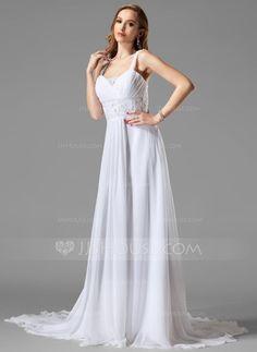 Wedding Dresses - $152.99 - A-Line/Princess Sweetheart Chapel Train Chiffon Wedding Dress With Ruffle Lace Beadwork (002004113) http://jjshouse.com/A-Line-Princess-Sweetheart-Chapel-Train-Chiffon-Wedding-Dress-With-Ruffle-Lace-Beadwork-002004113-g4113