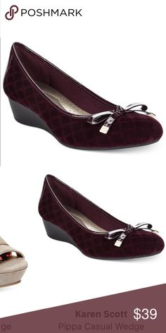 Karen Scott wine 🍷 wedge woman shoe 👠 pumps 7.5 Karen Scott wine color wedge pumps shoe 👠 for woman & Ladies. Size 7.5 worn twice.  Check out my closet, we have a variety of Victoria Secret, Bath and Body Works, handbags 👜 purse 👛 Aerosoles, shoes 👠fashion jewelry, women's clothing, Beauty products, home 🏡 decors & more...  Ships via USPS. Don't forget to bundle, you save big! Always a FREE GIFT 🎁 with every purchase!!! Thank you & Happy Poshing!!! Karen Scott Shoes Wedges