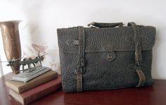 Antique Walrus Skin Legal Briefcase. Display