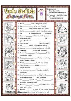 Tante Matilda_Tagesablauf  (Teil2) Matilda, German Resources, German Grammar, German Language Learning, Grammar And Vocabulary, Learn German, Student Gifts, Home Schooling, Exercises