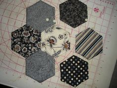 Supplies 14 Charms Squares) Batting Scraps (I used warm & natural) Thread to match for topstitching hexagon template (I used th. Quilting Tips, Quilting Tutorials, Quilting Projects, Sewing Projects, Hexagon Patchwork, Hexagon Quilt, Patchwork Ideas, Paper Pieced Quilt Patterns, Barn Quilt Patterns