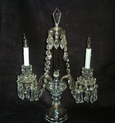 Antique Victorian Crystal Glass Beaded Candelabrum Lamp Electric Candle Sticks Candelabra Prisms Lustres