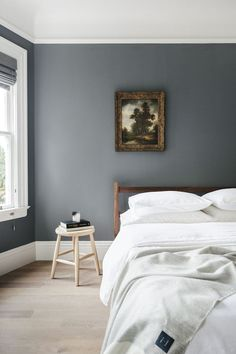 Dresses Kittens And Coloroh My Bedrooms Gray Bedroom Walls inside sizing 1000 X 1500 Dark Blue Grey Walls Bedroom - The bedroom is the most important set Grey Bedroom Colors, Gray Bedroom Walls, Bedroom Color Schemes, Grey Bedrooms, Paint Schemes, Grey Colors, Trendy Bedroom, Blue Grey Walls, Monochrome Bedroom