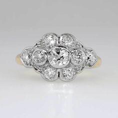Glittering 1.45ctw Old Mine Cut Diamond Engagement Ring 14k