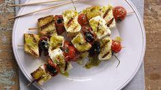 Vegetariánský špíz s feta sýrem a rajčátky   Šéf na grilu