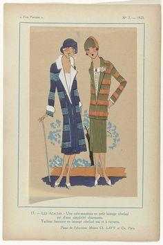 G-P. Joumard | Très Parisien No. 7, 1925 17. - LES ACACIAS, G-P. Joumard, 1925 | Een robe-manteau van wol met bont en een mantelpak van wol met een gestreept jasje. Stoffen van Ch. Lavy, Parijs. Prent no. 17 uit Très Parisien, No. 7, 1925