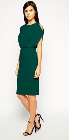 Pretty green dress for winter wedding guests