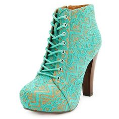 Vintage Lace Lace-Up Heel Bootie ($35) ❤ liked on Polyvore featuring shoes, boots, ankle booties, heels, zapatos, booties, mint, high heel booties, lace up booties and platform ankle boots
