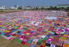 Members of the Facebook group Mother India's Crochet Queens came together to break the Guinness World Record for the largest crochet blanket.